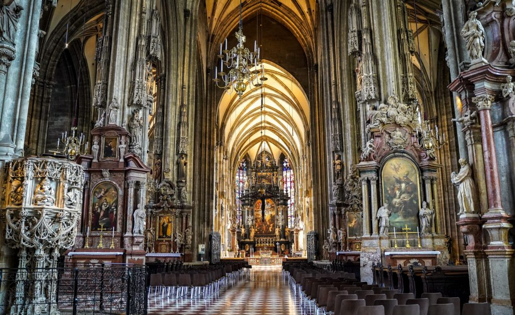 Inside St. Stephen's Cathedral in Vienna